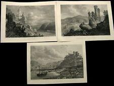 St Goar und Rheinburgen, 3 Stahlstiche ca. 1880