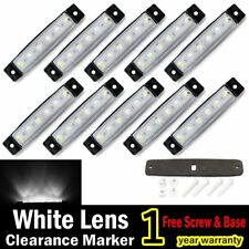 "10x 12V White  3.8"" 6 LED Side Marker Indicators Lamp Lights Car Truck Trailer"