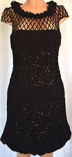 TONY WARD PRET-A- PORTER Black+Nude Sequined Dress Sz 12