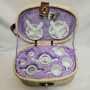 Delton Porcelain Tea Set for 2 Wicker Basket Adorable! MISSING ONE SAUCER