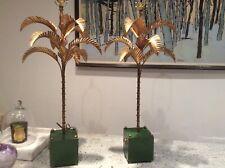 Stunning Pair Mid Century Gilt Palm Lamps. Hollywood Regency