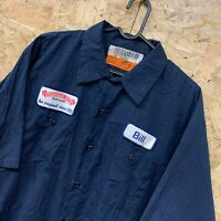 Red Kap Workwear Work Short Sleeve Shirt Striped Navy Blue USA Size XL