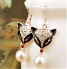 Hook Pearl Rhinestone Fashion Earrings