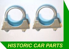 """Small EXHAUST CLAMPS  1 1/4"""" (32mm) I/dia clamp x 2 for 1930-70s vehicles"""