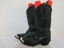 Justin Black Leather Cowboy Western Boots Style 1434 Mens Size 8 D