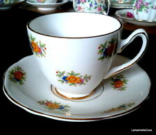 Gladstone Orange Flower Teacup & Saucer 1940s English Bone China Teacup & Saucer