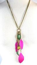 Betsey Johnson HAWAII LUAU Ladybug and Feather Y-Shaped Necklace