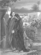 SAINT JOHN & VIRGIN Mary AFTER JESUS DEATH ~ Old 1880 Bible Art Print Engraving