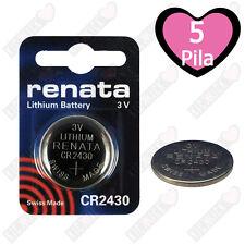 5X CR2430 Renata Batteria, Pila al Litio Diossido di manganese, 285 mAh, 3 V