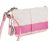 NWT Coach RARE Signature Jacquard Pink Wristlet Lurex Stripe Leather 42618