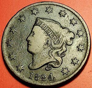 1824/2 Large Cent 1C Beautiful original coin