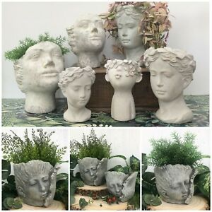 Grey Concrete Face Head Plant Pot Stoneware Vase Decorative Novelty Gift Planter