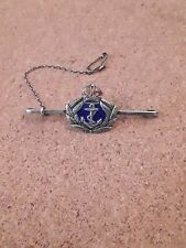 WWI Silver Enamel Royal Navy Sweetheart Badge / Brooch + safty chain stunning