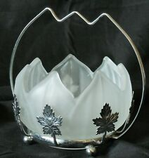 A vintage British lotus frosted Glass bowl with silvered leaf style metal stand
