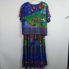 Vintage Women's Size 6 Set Carole Little Sport Blouse Skirt Boho Festival Bright