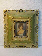 Ancienne peinture miniature portrait de Mme Récamier