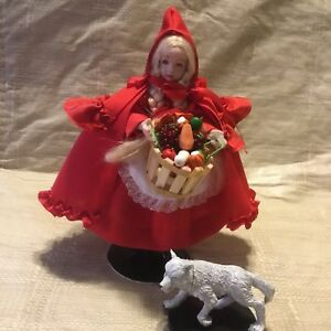 """5"""" RED RIDING HOOD dolls bears dollhouse miniatures artist offerings All Bisque"""