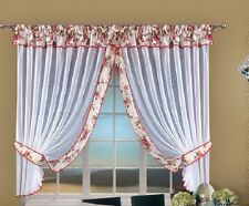 White Voile Net ready-made Curtain with Vintage Cottage Folk Design Window Decor