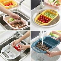 Foldable Drain Basket Fruit Vegetable Sink Basin Container Kitchen Tools Q9W2