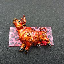 Betsey Johnson Charm Brooch Pin Gifts Fashion Red Enamel Cute Flower Bull