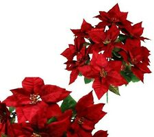 """New Red Large 9-Poinsettia 22"""" Bush Christmas Holiday Flower Home Office Decor"""