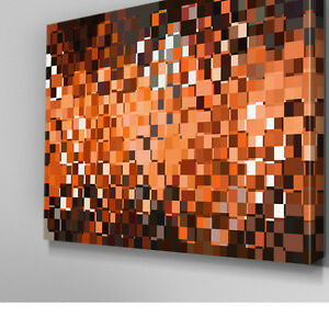 AB875 Modern orange pattern glow Canvas Wall Art Abstract Picture Large Print