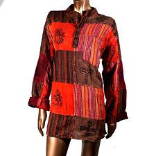 Unisex Patchwork Cotton Hippie Boho Stonewash Kurta Shirt Nepal Nepali XXL KT05