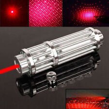 Red Laser Pointer Pen Military 650nm Beam Light+18650 Battery+Charger+Star Cap