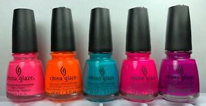 China Glaze Nail Polish Summer Neon Collection 5 MUST HAVE Neons Lacquers