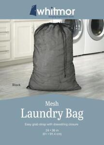"""Whitmor 24"""" x 36"""" Black Mesh Laundry Bag Easy Grab Strap with Drawstring Closure"""