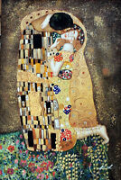 The Kiss Klimt Classic Famous Large Repro 24X36 Oil On Canvas Painting STRETCHED