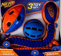 Nerf Dog Toy Set Crunch and Squeak Tuff Tug Ball Football, 3 Pieces