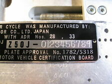 HONDA Z50J mini bike head tube Australia 10/77 compliance data plate + ENGRAVING