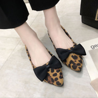 Womens Leopard Print Bowknot Pointed Toe Flats Pumps Slip On Fashion Boat Shoes