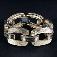 Vintage Monet Link Chain Bracelet Gold Tone Chunky Textured Signed