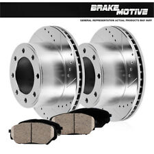 Ford Excursion F250 F350 Front Drilled Slotted Brake Rotors & Ceramic Pads 4WD