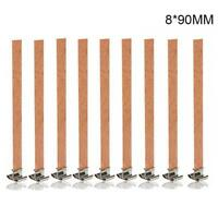 10pcs/set Wood Wooden Candles Core Wick Candle With Iron Stands 3 Sizes Hot Sale