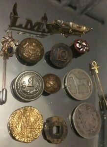 job lot antiques victorian silver crown 1878 + irish coin + railway + military