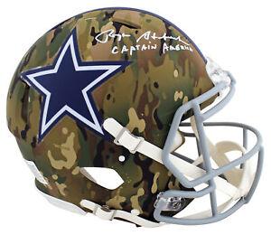 Cowboys Roger Staubach Captain America Signed Camo F/S Speed Proline Helmet BAS