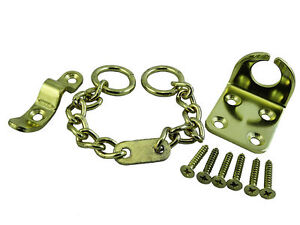 NEW Door Chain Security Safety Lock Wing Type & Screws Brass Plated Pack of 25