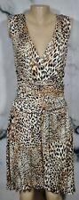 SPENSE Black Brown Tan Ivory Animal Print Stretch Jersey Sleeveless Dress Large