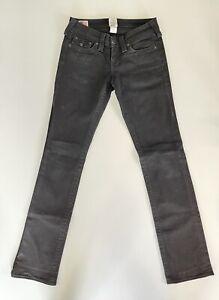 True Religion Straight Leg Womens Denim Jeans Size 26 Black Wash Made In USA