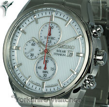 New SEIKO SOLAR TITANIUM White Face Chronograph with TITANIUM Bracelet SSC363P1