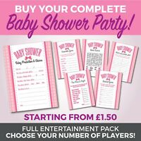 Baby Shower 6 Game Complete Party Set - Girls - A6 Game Cards - BOW Theme Design