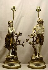 """VINTAGE PAIR FRENCH L & F MOREAU FIGURAL BOY & GIRL STATUE LAMPS - 45 1/2"""" TALL"""