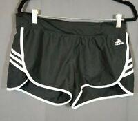 Adidas~Climalite~Womens~Fitness Black & White~Sport Running~Shorts Sz L (16-18)