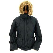 Lands' End Goose Down Hooded Puffer Jacket Women's sz  Large L 14-16 Black Coat