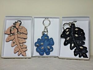 NWT Michael Kors Crystal LG Fern Key FOB/Jewelry Flower Leather Charms,Den/Blk/B