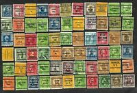 66 U S Precancel Stamps Used Southbridge MA, Lisle IL. Newburgh NY etc