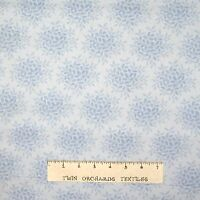 Calico Fabric - Tonal Pale Blue Leaf Bouquets - Cotton YARD